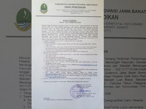 Surat Edaran Disdik Jabar Terkait Perubahan Mekanisme PPDB Jabar 2017