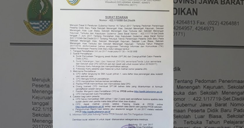 Surat Edaran Disdik Jabar Terkait Perubahan Mekanisme PPDB