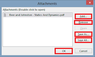 Attachments dialogue box