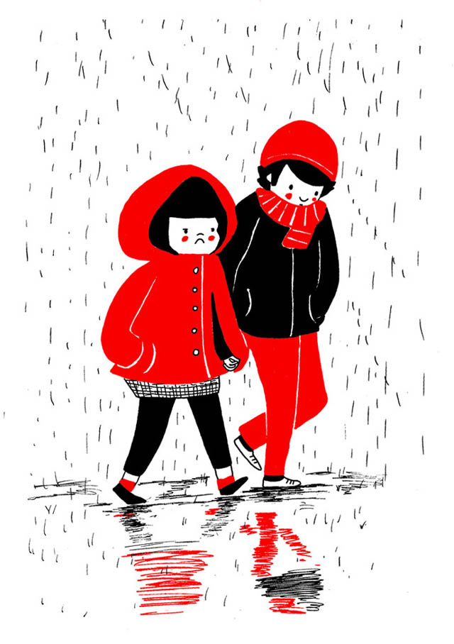 Heartwarming Illustrations Show That True Love Is In The Little Everyday Things - Even if you're feeling a bit blue, there's always someone that will hold your hand
