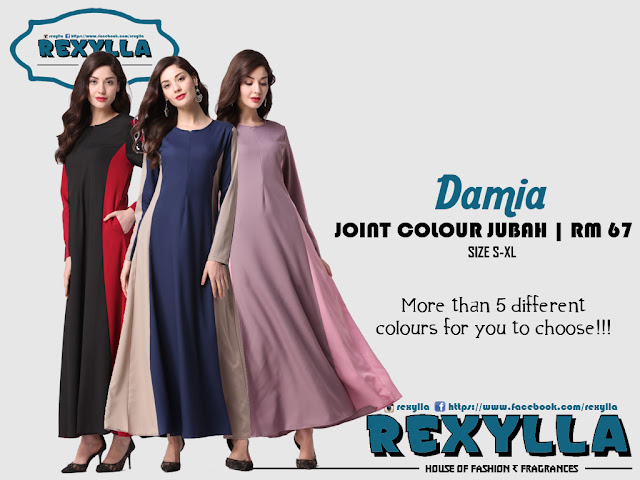rexylla, joint colour, jubah, damia collection