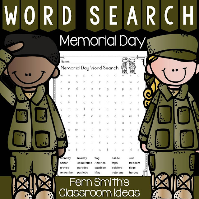 FERN'S FREEBIE FRIDAY ~ MEMORIAL DAY WORD SEARCH & ANSWER KEY!