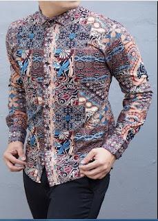 Desain Baju Batik Pria Lengan Panjang