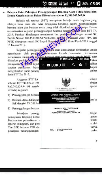 Buku hasil audit BPK atas keuangan Pemkab Simalungun.