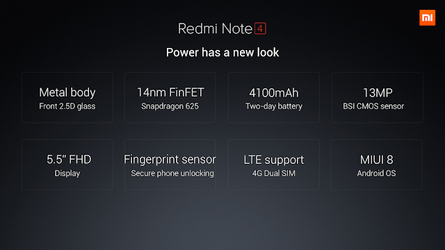 Xiaomi Redmi Note 4 India Specs