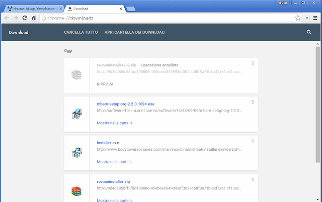 Chrome pagina Download in material design