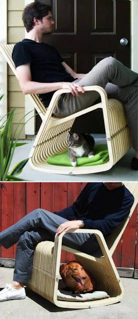 Silla mecedora con cucha para perro/gato
