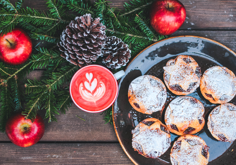 Easy vegan options for Christmas favourites - mince pies, cake, chocolate, drinks, sandwiches, biscuits and pastries - all dairy free and easily available on from UK supermarkets and high street shops. Plus recipes to make your own vegan Christmas treats.