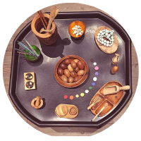 wooden resources tuff tray with wodden disks, acorns, pots, bowls, beads and utensils