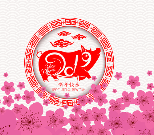 Chinese new year 2019 lantern and blossom free vector file