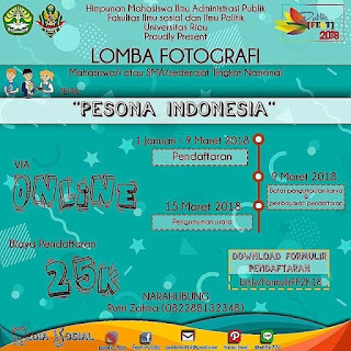 Lomba Fotografi Tema Pesona Indonesia Untuk SMA Sederajat / Mahasiswa