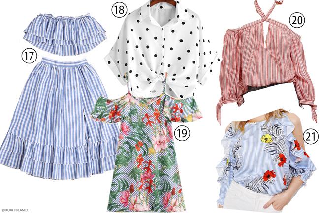 日本人ファッションブロガー,ウィッシュリスト、ほしい物リスト for SheIn/ スローガン、メッセージTシャツ,ロゴT、ギンガムチェック、ストライプ、トロピカル柄、ドット柄 スカート、ブラウス、シャツ