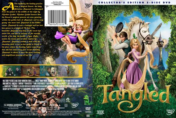 DVD case front and back Tangled 2010 movieloversreviews.blogspot.com