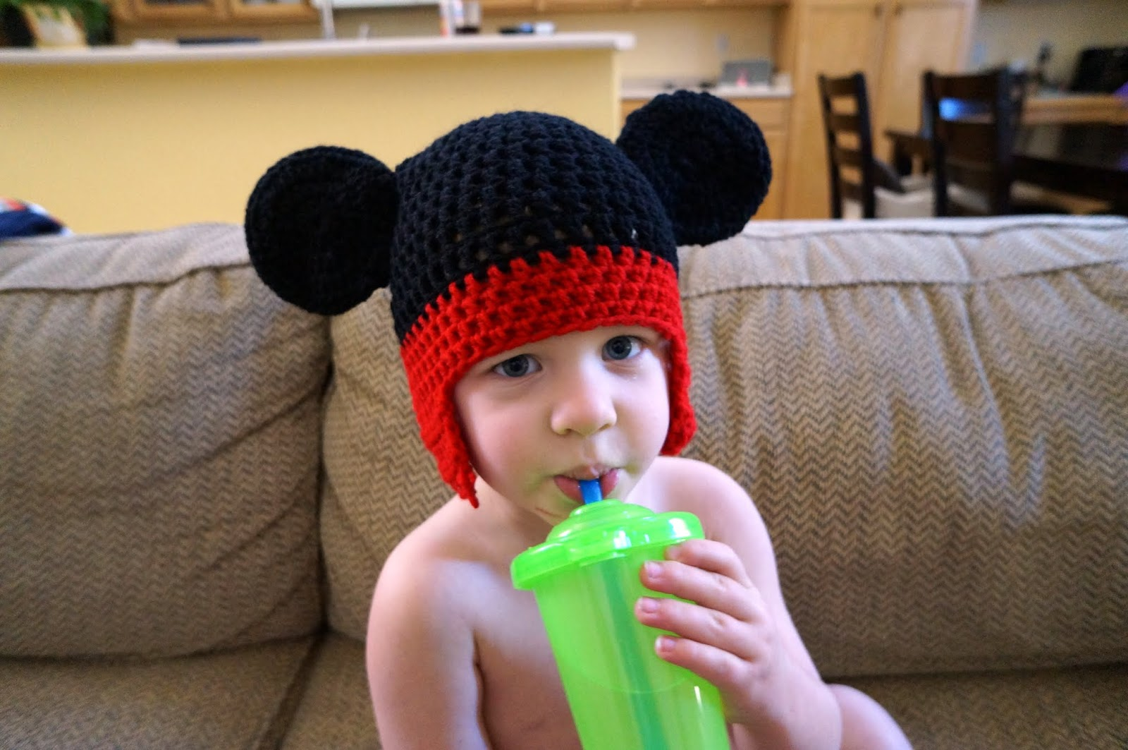 I literally just finished Aaron s hat so no picture of him yet. Hopefully  he enjoys his warm new Mickey Ears as much as his brother.  ) 65f6d0d9d33