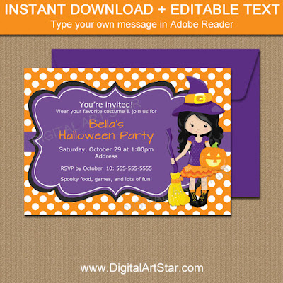 kids Halloween downloadable Halloween invite
