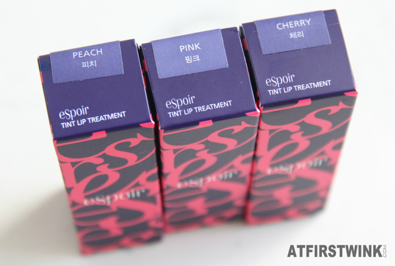 eSpoir tint lip treatment peach pink cherry boxes