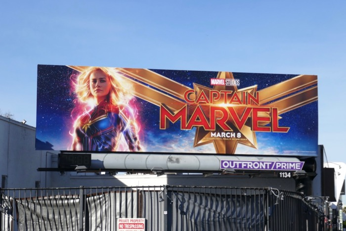 Captain Marvel movie billboard