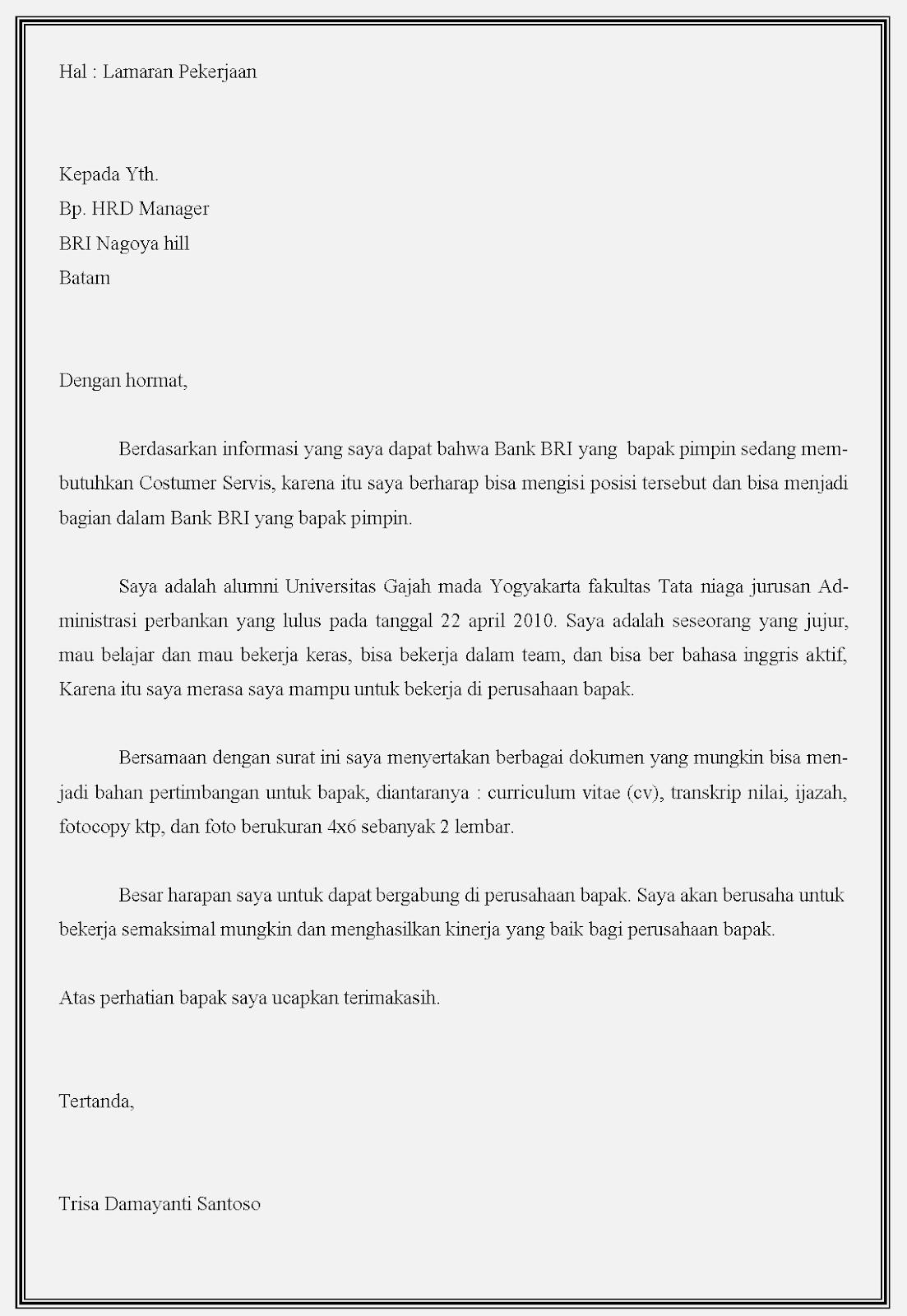 Contoh Surat Lamaran Kerja Di Bank Memakai Bahasa Inggris