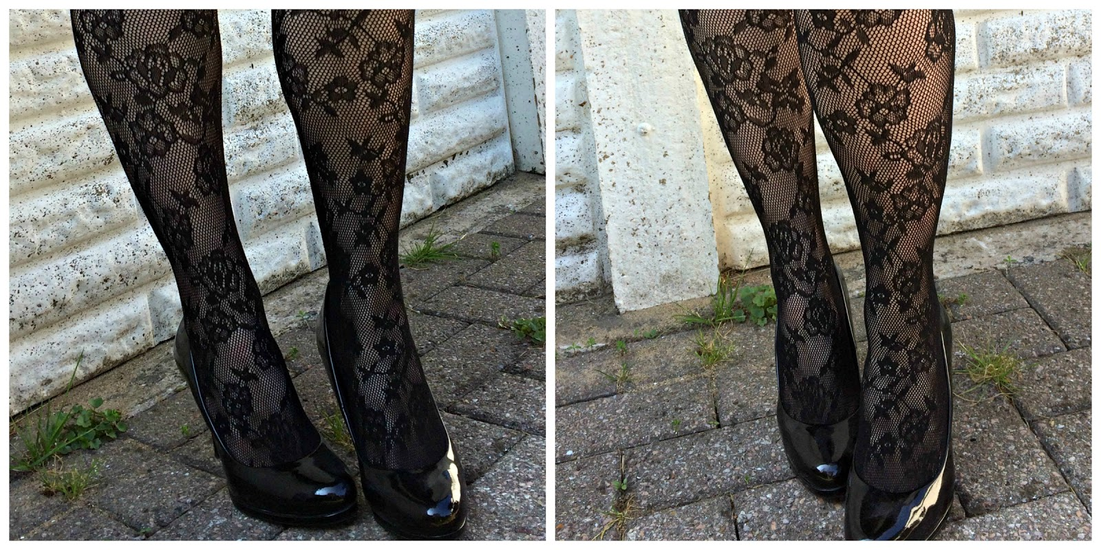 Floral Net Tights in Black