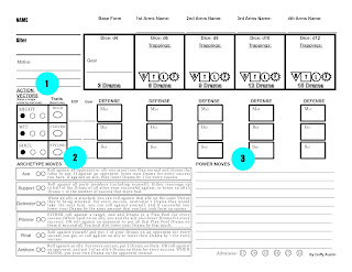 The updated version of the Alter Arms character sheet featuring the label 'Action Vectors' with a '1' next to it, 'Archetype Moves' with a '2' next to it, and 'Power Moves' with a '3' next to it.