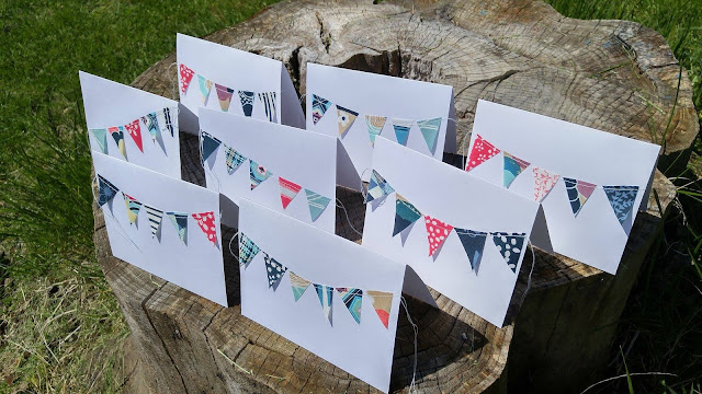 fabric scrap bunting note cards