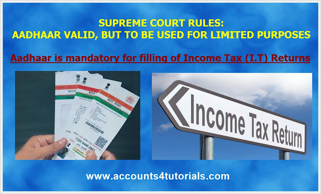 Income tax filing aadhhar card is mandatory