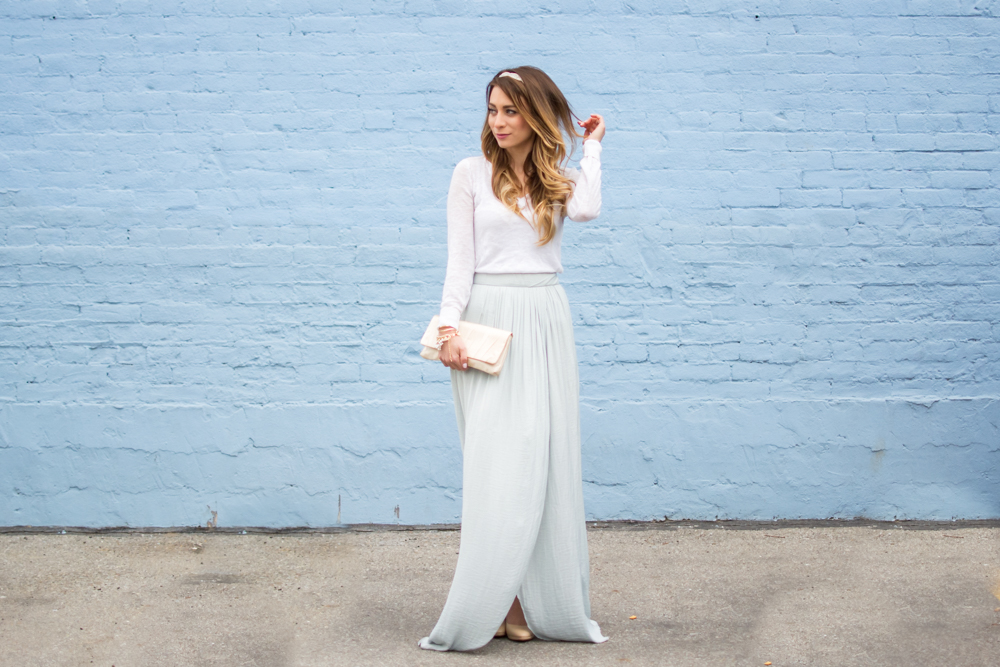 pale blue maxi skirt winter outfit cinderella