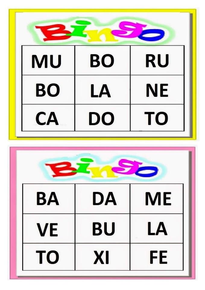 Jogo Bingo Silábico.