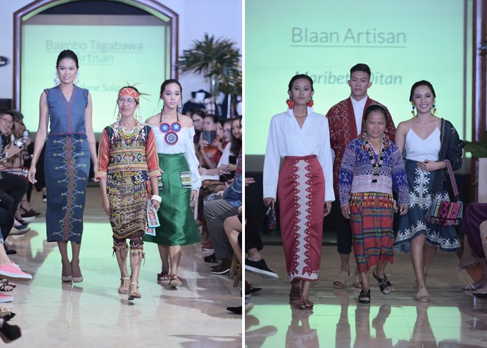 Artisans of B'laan and Bagobo Tagabawa tribes along with their   hand-crafted works worn by the models walked down the runway.