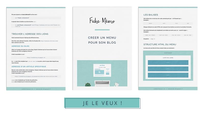 4 bonus exclusifs rien que pour vous - Fiche mémo pour bien créer son menu en HTML