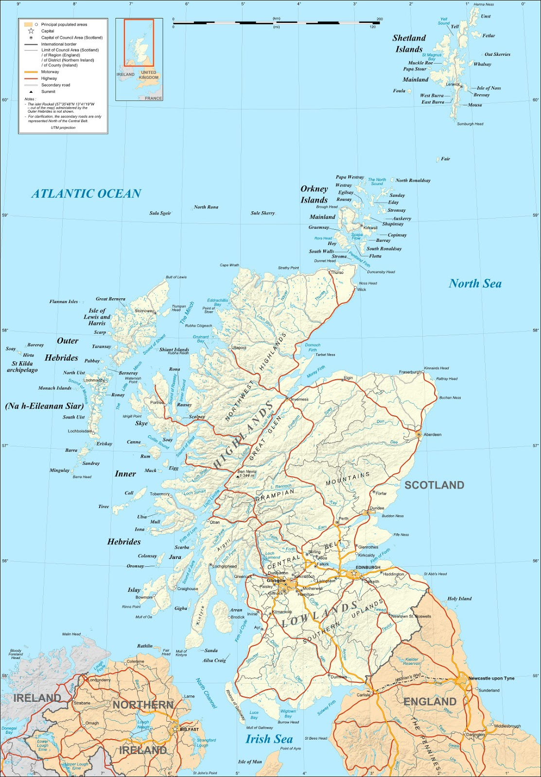 Map of Scotland. On September 18, 2014, Scotland will vote on whether to leave the UK and become an independent country.