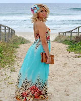 vestido de playa largo con flores tumblr de moda