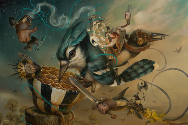 22-There-Sting-Place-Greg-Craola-Simkins-Fantastical-Surreal-Paintings-Full-of-Details