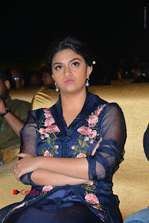 Actress Keerthi Suresh Stills in Blue Long Dress at Nenu Local Audio Launch  0043.JPG