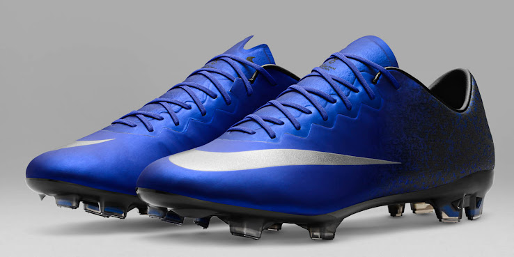 ... first Nike Mercurial Cristiano Ronaldo boots are shimmery blue with  classy silver accents e56de4141eae6
