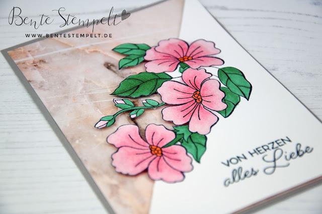 Stampin' Up! Bente Stempelt Stempelset Farbenfroh durch Jahr Farbenspiel der Jahreszeiten Marmor DSP Designerpapier gemustertes Papier Blütenpracht von Herzen alles Liebe