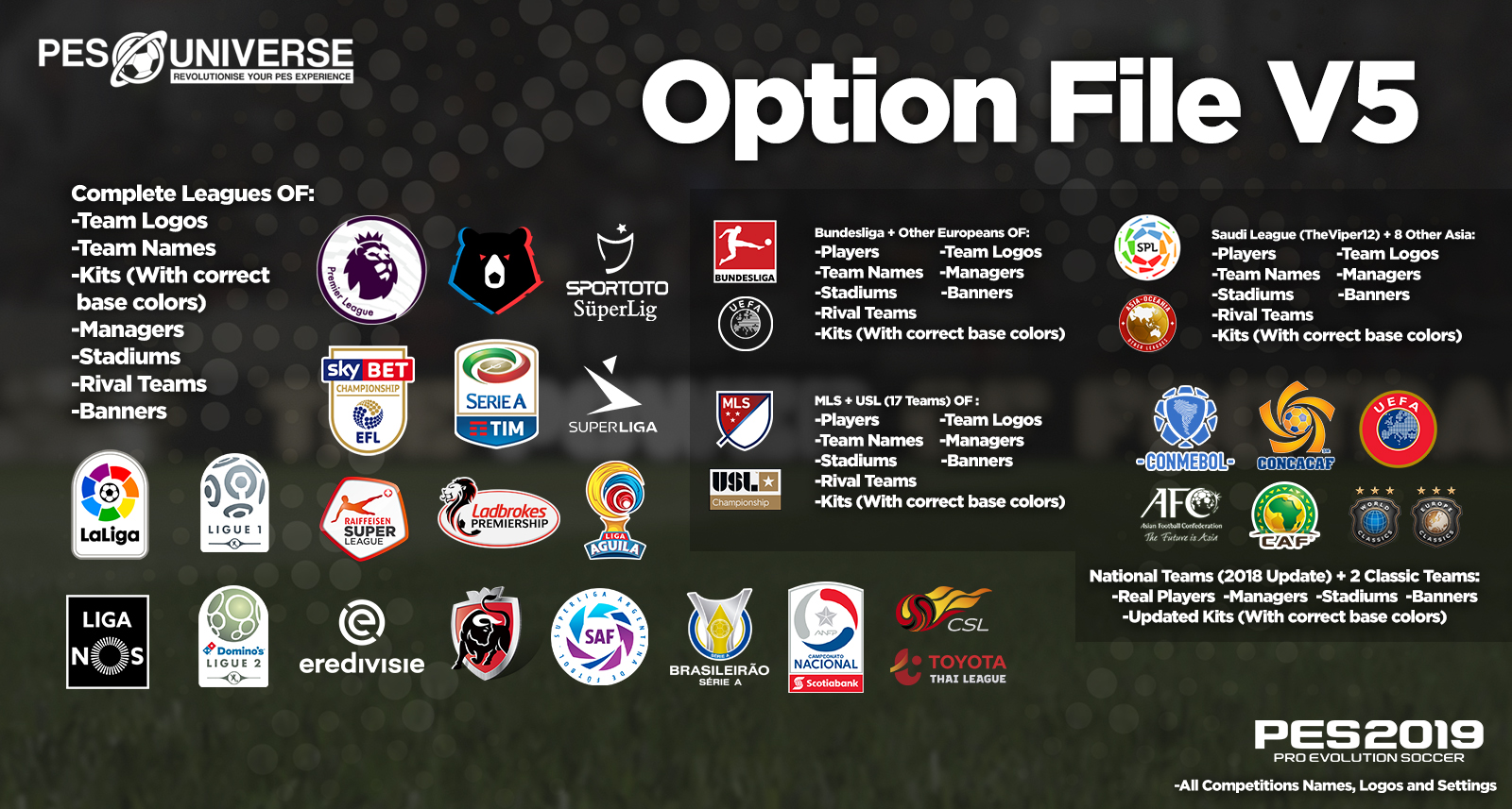 PES 2019 PS4 PES Universe Option File v5 Season 2018/2019