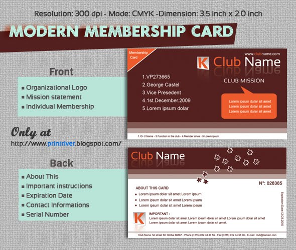 Modern Membership Card template for free | PrintRIVER©