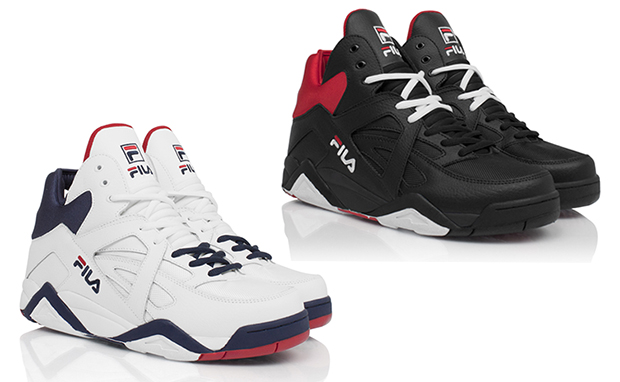 "45c8d01774 FILA Cage makes a casual comeback in the upcoming ""Re-Introduced"" Pack.  White Navy-Red and Black White-Red colorways channel OG makeups"