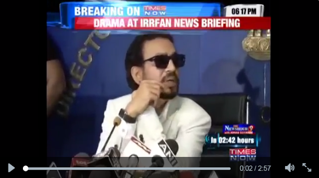 Irrfan Khan is going out of his way to promote Madaari, a movie he represents both as a lead actor and producer.   As part of the promo, he had met Delhi CM Arvind Kejriwal and then went to the press club to brief media about it.   That is when the script stopped working. A Times Now report says Irrfan Khan declined to answer any specific question.