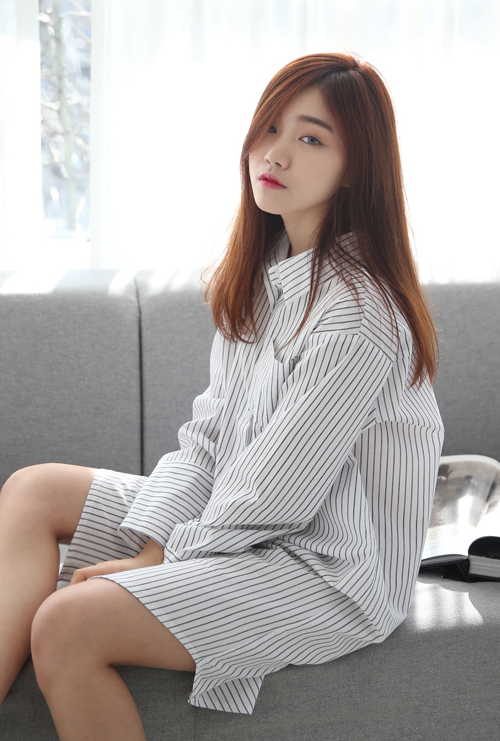 Button Down Pencil Stripe Shirt Dress