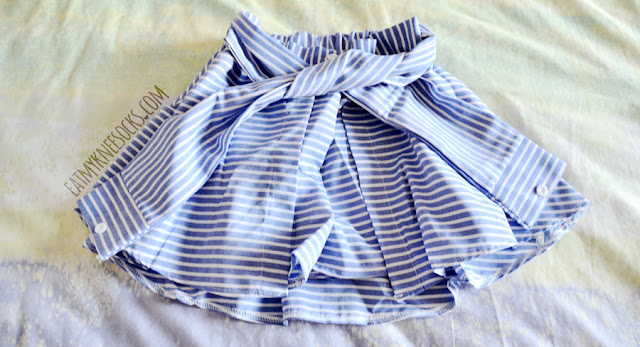 Details on the blue striped tie-waist skort shorts from SheIn, similar to Yesstyle's Korean and Taiwanese fashion brands.
