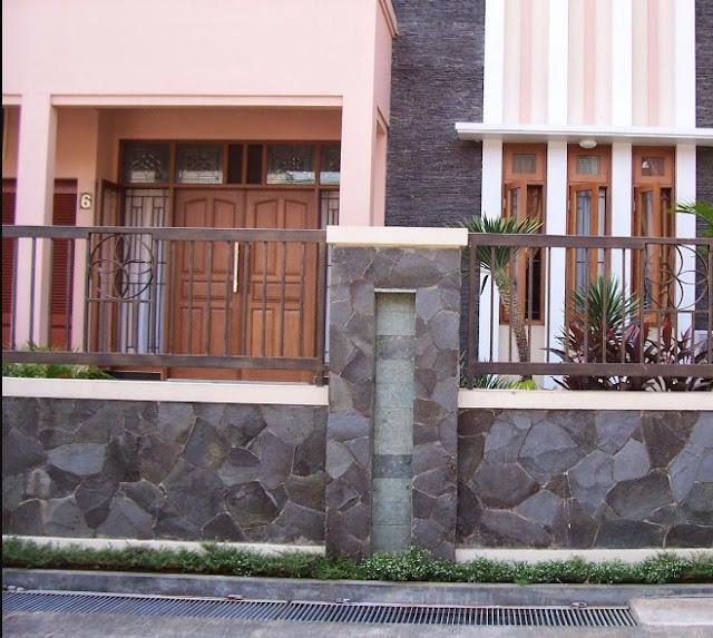 gambar pagar batu alam minimalis