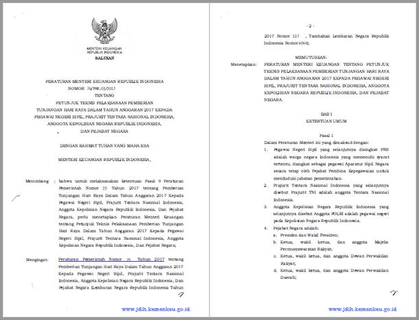PMK Nomor 76/PMK.05/2017 Tentang Juknis Pemberian THR PNS Tahun 2017