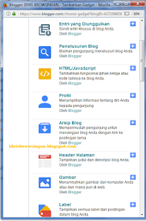 Memilih Widget Blogspot