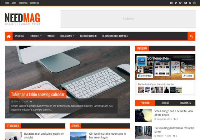 Needmag blogger template, Plasma template for blogger, blogger templates, free blogger templates, 2018 blogger templates