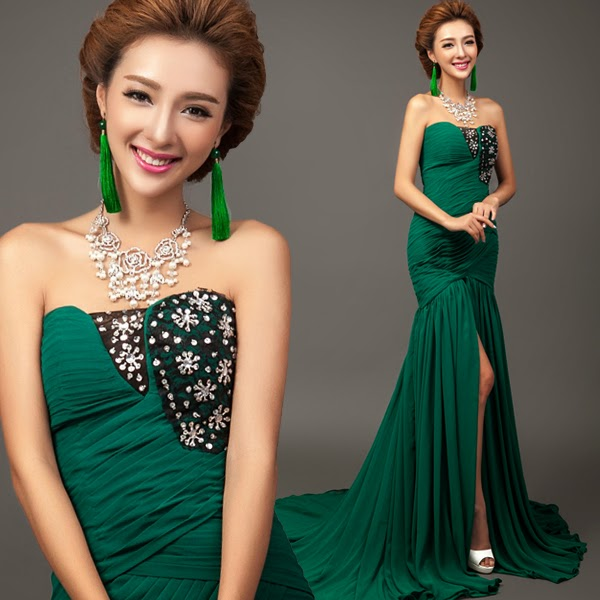 Trumpet Sweep Train Evening Gown