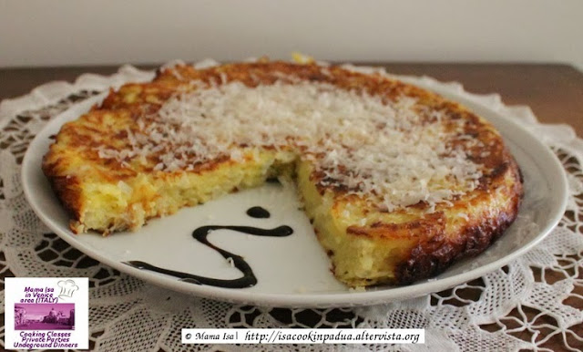 Frittata with Onion, Potatoes, and Parmesan at Mama Isa's Cooking Classes near Venice Italy