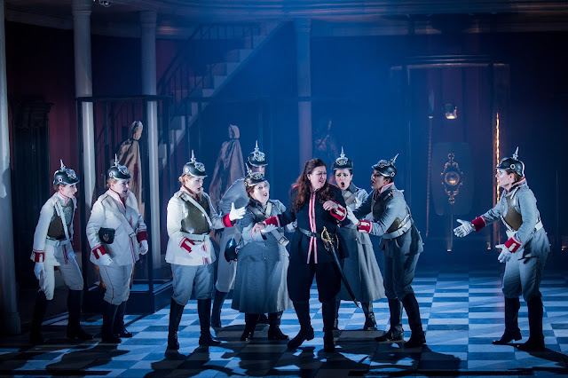 Grange Park Opera - Wagner: Die Walkure - Brunnhilde & the Valkyries: Mari Wyn-Williams, Beeca Marriot, Tanya Hurst, Gemma Morsley, Morag Boyle, Anne-Marie Owens, Lauren Easton, Jane Dutton (credit: Robert Workman)