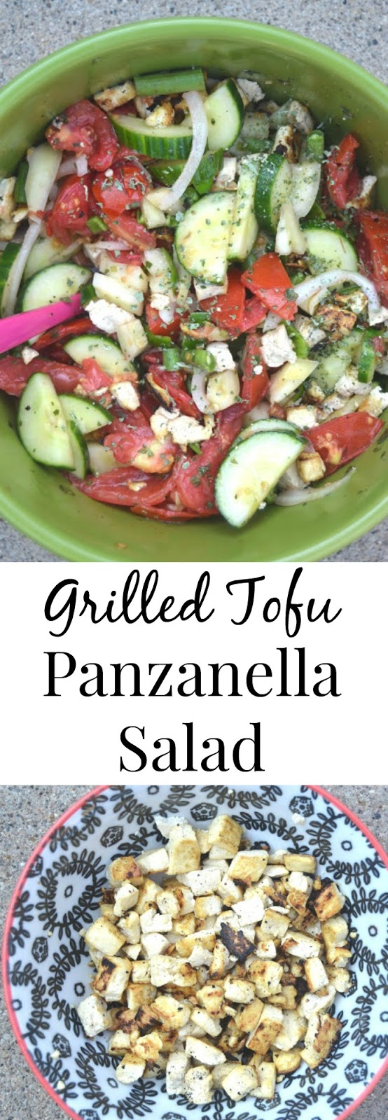 This grilled tofu panzanella salad makes the perfect healthy and fresh dish! Loaded with grilled tofu, tomatoes, cucumbers and more! www.nutritionistreviews.com